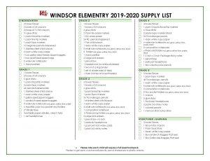 Windsor Supply List 19 20