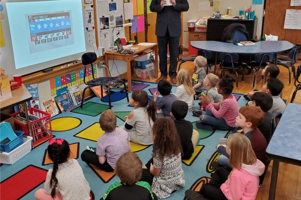Bret McIntyre from WHO Visited Our Kindergarten Classes to Talk About the Weather