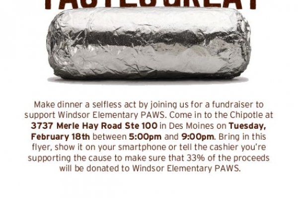Eat Dinner at Chipolte On Merle hay February 18th to Support Windsor!